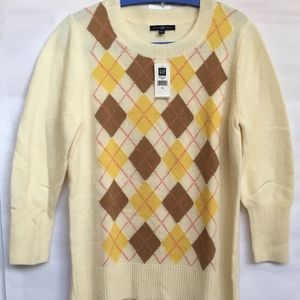 NWT GAP XL fits L Argyle Wool Sweater Pullover